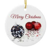 Elegant Diamond and Red Christmas Ornaments