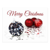 Elegant Diamond and Red Christmas Ornaments Postcard