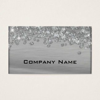 Elegant Diamond Appeal Silver  Business Card