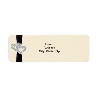 Elegant Diamond Black Ribbon Address Labels