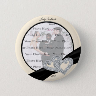 Elegant Diamond Black Ribbon Round Button