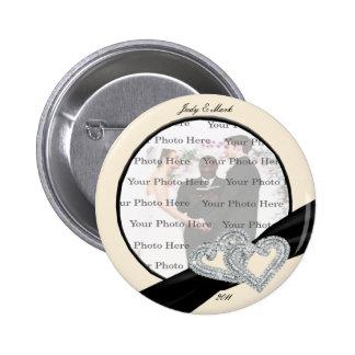 Elegant Diamond Black Ribbon Round Button