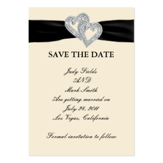 Elegant Diamond Black Ribbon Save The Date Cards Large Business Cards (Pack Of 100)