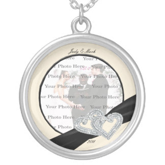 Elegant Diamond Black Ribbon Silver Round Necklace