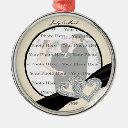 Elegant Diamond Black Ribbon Silver Round Ornament