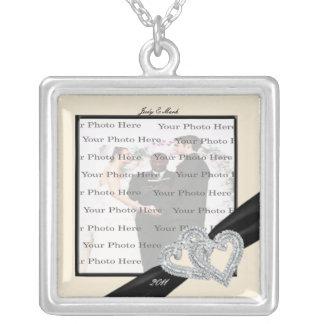 Elegant Diamond Black Ribbon SilverSquare Necklace