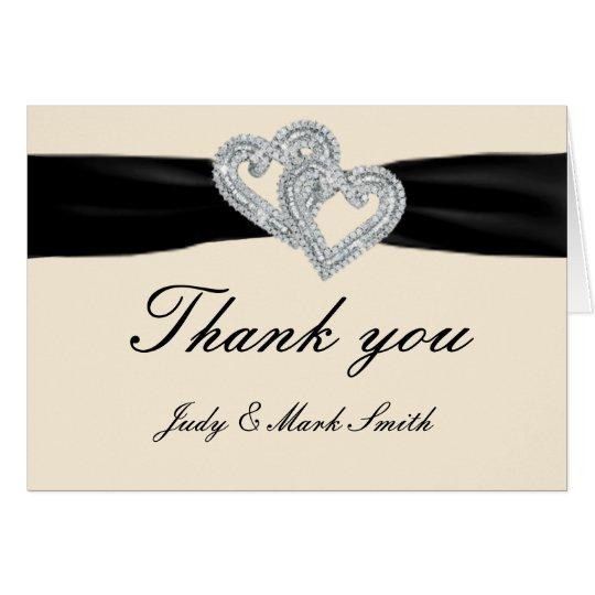 Elegant Diamond Black Ribbon Thank You Cards