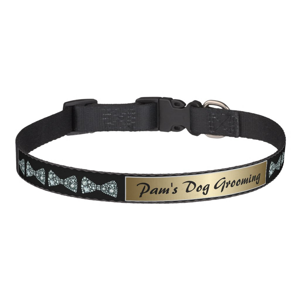 Elegant Diamond Bows Dog Grooming Dog Collar