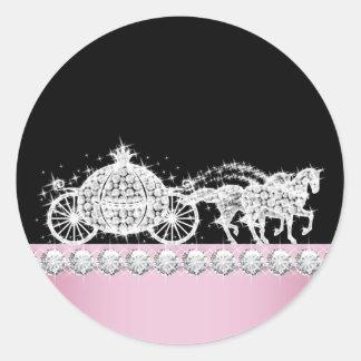 Elegant Diamond Carriage Pink Princess Stickers