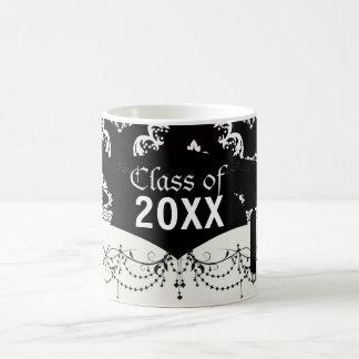 elegant diamond damask black white graduation coffee mugs