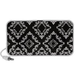 elegant diamond damask black white iPhone speaker