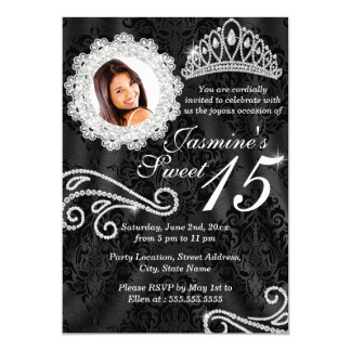 Elegant Diamond & Damask Photo Quinceanera Invite