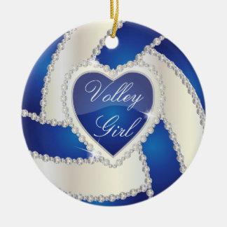 Elegant Diamond Heart Dark Blue Volleyball Christmas Tree Ornament
