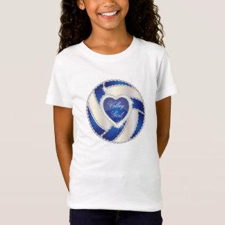 Elegant Diamond Heart Dark Blue Volleyball T-Shirt