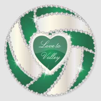 Elegant Diamond Heart Dark Green Volleyball Classic Round Sticker