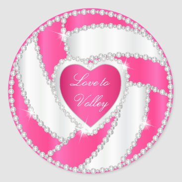USA Themed Elegant Diamond Heart Hot Pink Volleyball Classic Round Sticker