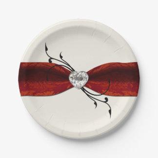 Elegant Diamond Heart Paper Plate