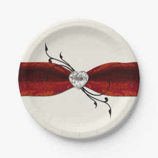 Elegant Diamond Heart Paper Plate 7 Inch Paper Plate