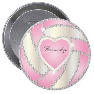 Elegant Diamond Heart Pink Volleyball Pinback Button