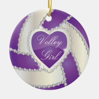 Elegant Diamond Heart Purple Volleyball Ceramic Ornament