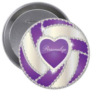 Elegant Diamond Heart Purple Volleyball Pinback Button