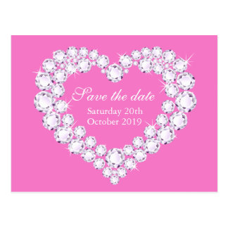 Elegant diamond heart save the date pink postcard