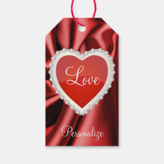 Elegant Diamond Hearts | Deep Red Pack Of Gift Tags