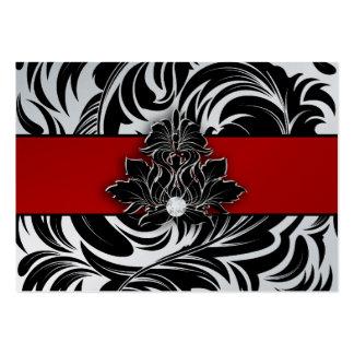 Elegant Diamond Logo Black White Red Silver Jumbo Business Cards