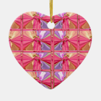 Elegant Diamond Pattern Pink Smile Happy heart Ceramic Ornament
