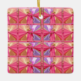 Elegant Diamond Pattern Pink Smile Happy square Ceramic Ornament
