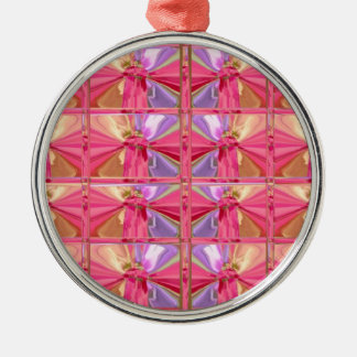 Elegant Diamond Pattern Pink Smile premium round Metal Ornament