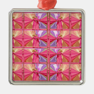 Elegant Diamond Pattern Pink Smile premium square Metal Ornament