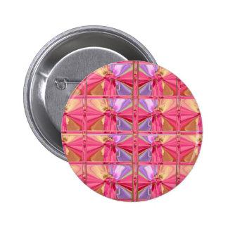 Elegant Diamond Pattern Rose Pink Smile Happy Show Pinback Buttons