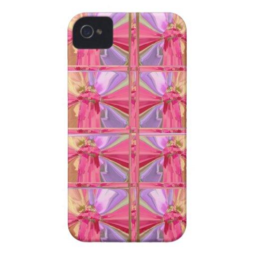 Elegant Diamond Pattern Rose Pink Smile Happy Show Case-Mate iPhone 4 Cases