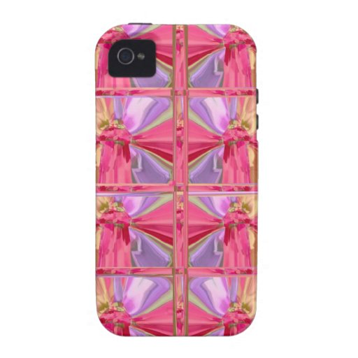 Elegant Diamond Pattern Rose Pink Smile Happy Show Case For The iPhone 4
