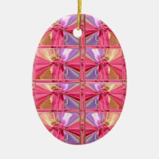 Elegant Diamond Pattern Rose Pink Smile Happy Show Ceramic Ornament