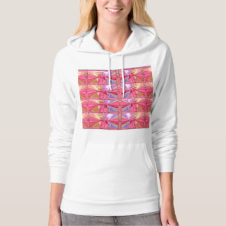 Elegant Diamond Pattern Rose Pink Smile Happy Show Hooded Pullover