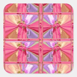 Elegant Diamond Pattern Rose Pink Smile Happy Show Square Sticker