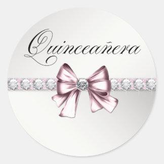 Elegant Diamond Pink Black Quinceanera Stickers