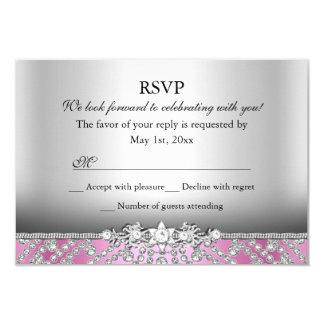 Elegant Diamond Pink RSVP Card