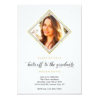 Elegant Diamond Shape Photo Graduation Card
