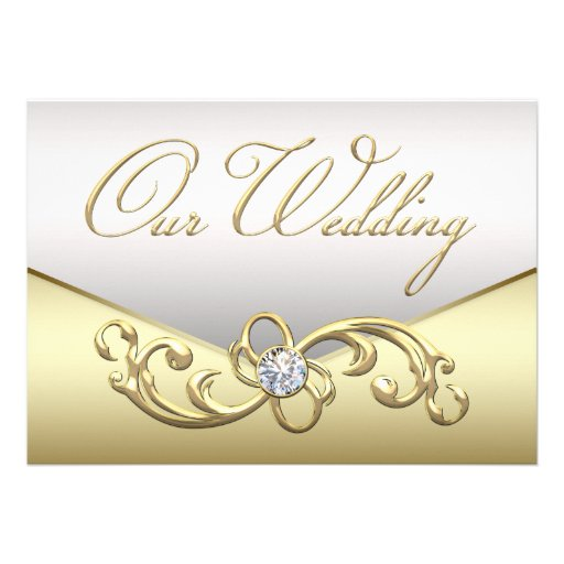 "Elegant Silver Wedding Invitations: Elegant Diamond Silver And Gold Wedding Invitation 5"" X 7"