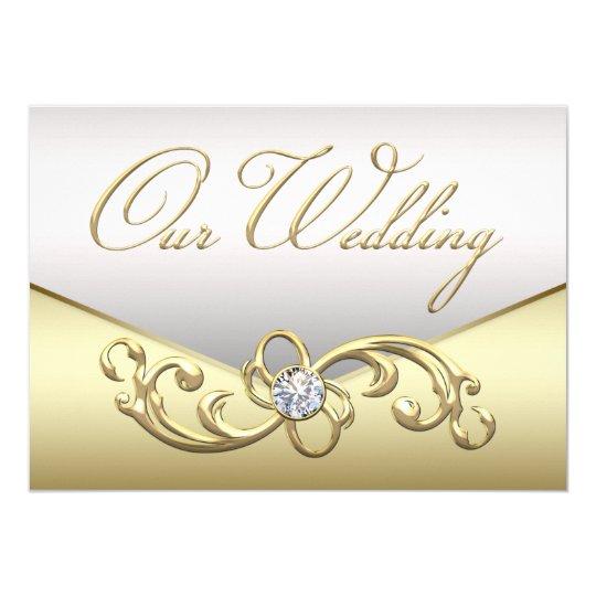 Elegant Diamond Silver And Gold Wedding Invitation