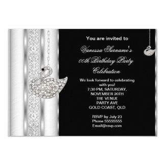 Elegant Diamond Swan White Silver Black Birthday Card