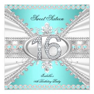 Elegant Diamond Teal Sweet 16 Sixteen Party Card