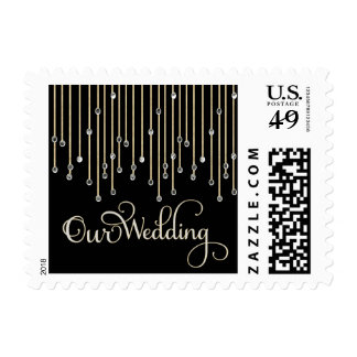 Elegant Diamond Typography Wedding Postage