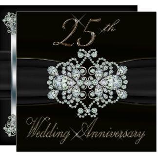 Elegant Diamonds 25th Silver Wedding Anniversary Invitation