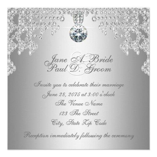 Elegant Silver Wedding Invitations: Elegant Diamonds And Silver Wedding Custom Invitations