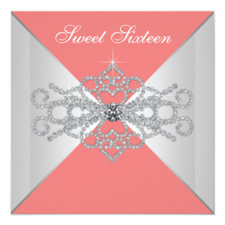 Elegant Diamonds Coral Sweet 16 Birthday Party Card