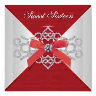 Elegant Diamonds Red Birthday Party Card